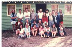 Rear: Rudy Frank, Geoff Bell, Tom Hogarth, Benny ?, Jennie Whinam, Henry Burmester, Keith Tarlo, Muriel Storey-Edwards, Unknown, Margaret Grainger, Michael Fogarty, Unknown. Kneeling: Cam ?, Jan Boersma, Unknown, Chris Harris. Seated: Karen Alexander, Janet ?, Unknown, Elisabeth Tilley, Russ Bauer with Elisabeth Tilley's daughter, Val ?.